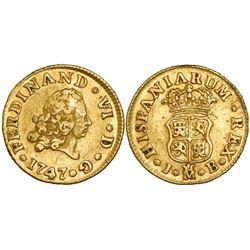 Madrid, Spain, bust 1/2 escudo, Ferdinand VI, 1747JB.