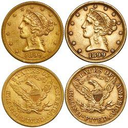 Lot of 2 USA (Philadelphia mint), $5 coronet Liberty, 1899.