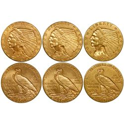 Lot of 3 USA (Philadelphia mint), $2-1/2 Indian head, 1915.