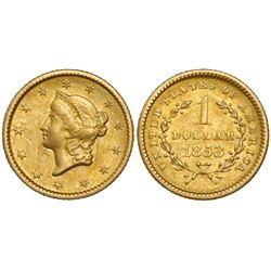 USA (Philadelphia mint), $1 coronet Liberty (Type I), 1853.