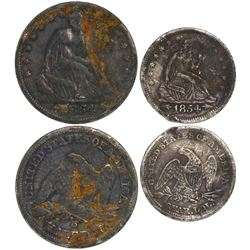 Lot of 2 USA silver coins from the wreck of a Confederate blockade runner: half dollar 1854-O (New O