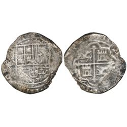Mexico City, Mexico, cob 8 reales, Philip II or III, assayer not visible (F or F-oD).