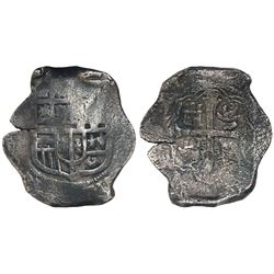 Mexico City, Mexico, cob 8 reales, Philip IV, assayer not visible (D).