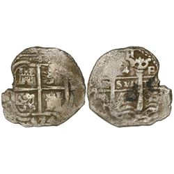 Potosi, Bolivia, cob 4 reales, 1654E, PH at top.