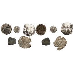 "Lot of 5 silver cobs from 1600s wrecks, as follows: Seville 2R ""Rill Cove wreck"" (1618); Mexico 4R """