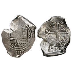 Mexico City, Mexico, cob 8 reales, Philip IV, assayer P (late 1650s).