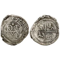 Lima, Peru, cob 1/2 real, Philip II, assayer Diego de la Torre, •D to left of monogram, mintmark P t