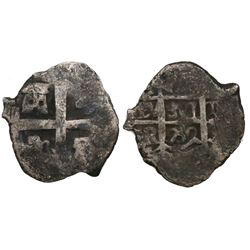 Lima, Peru, cob 1 real, 1752R, final year of Lima cobs, 2R-sized cross die.