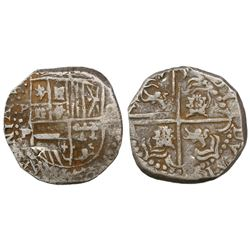 Potosi, Bolivia, cob 8 reales, Philip IV, assayer •P (1620s), quadrants of cross transposed, ex-Pana