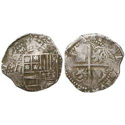 Potosi, Bolivia, cob 8 reales, Philip IV, assayer T (ca. 1640).