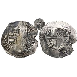 Potosi, Bolivia, cob 8 reales, 16(51-2)E, with crowned-L countermark on cross, from the Maravillas (