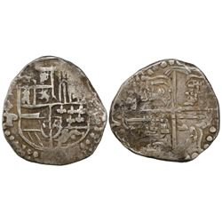Potosi, Bolivia, cob 4 reales, Philip IV, assayer P/T (1622), quadrants of cross transposed, rare.
