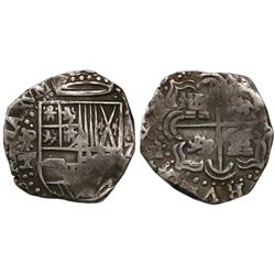 Potosi, Bolivia, cob 2 reales, Philip IV, assayer T (1630s).