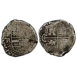 Potosi, Bolivia, cob 2 reales, Philip IV, assayer TR (1630s).
