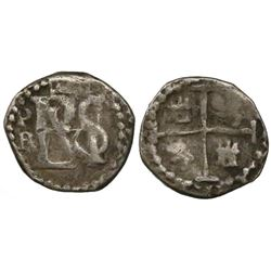 Potosi, Bolivia, cob 1/2 real, Philip III, assayer R (curved leg) below mintmark P to left of monogr