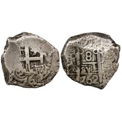 Potosi, Bolivia, cob 8 reales, 1762V-Y.