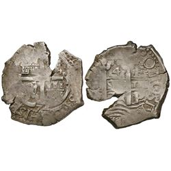 Potosi, Bolivia, cob 4 reales, 1672E.