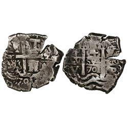 Potosi, Bolivia, cob 4 reales, 1701Y.