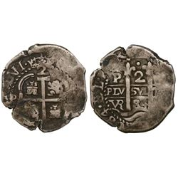 Potosi, Bolivia, cob 2 reales, 1684VR.