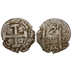 Potosi, Bolivia, cob 2 reales, 1765V-(Y).