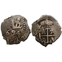 Potosi, Bolivia, cob 1/2 real, 1694.