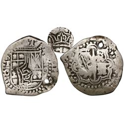 "Guatemala, 2 reales ""moclon,"" crown countermark (Type II, 1662) on a Potosi, Bolivia, cob 2 reales,"