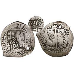 Guatemala, 2 reales  moclon,  crown countermark (Type II, 1662) on a Potosi, Bolivia, cob 2 reales,