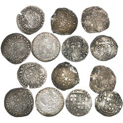Lot of 7 Spain 1R of Ferdinand-Isabel, mints of Granada, Seville and Toledo.