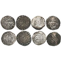 Lot of 4 Spain 1/2R of Ferdinand-Isabel, mints of Segovia, Seville and Toledo.