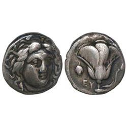 Caria, Rhodes, AR didrachm, 394-304 BC, Helios / rose.