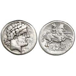 Iberian Peninsula, AR denarius, ca. 100-70 BC, Bolskan mint.
