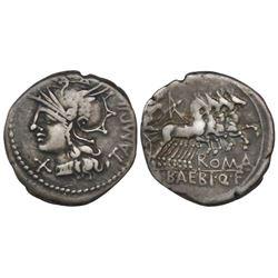 Roman Republic, AR denarius, M. Baebius Q.f. Tampilus, 137 BC, Rome mint.