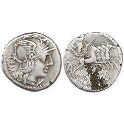 Roman Republic, AR denarius, M. Aburius M.f. Geminus, 132 BC, Rome mint.