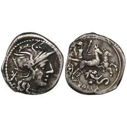 Roman Republic, AR denarius, L. Caecilius Metellus Diadematus,128 BC, Rome mint.