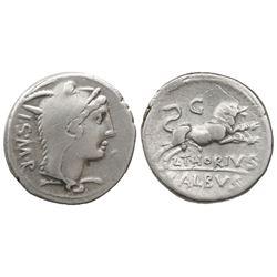 Roman Republic, AR denarius, L. Thorius Balbus, 105 BC, Rome mint.