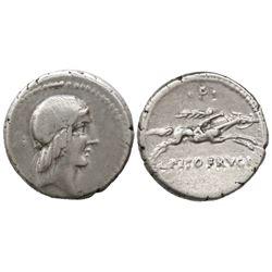 Roman Republic, AR denarius, L. Calpurnius Piso Frugi, 90 BC, Rome mint.