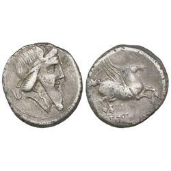 Roman Republic, AR denarius, Q. Titius, 90 BC, Rome mint.