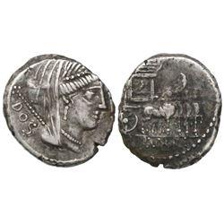 Roman Republic, AR denarius, L. Rubrius Dossenus, 87 BC, Rome mint.