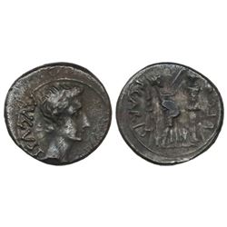 Roman Empire, AR quinarius, Augustus, 27 BC-14 AD, Emerita mint, P. Carisius, legate pro praetore, s