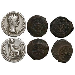 "Lot of 3 Roman Empire-era ""coins of the Bible"": One AR denarius of Tiberius (ca. 14-37 AD, ""tribute"