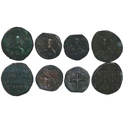 Lot of 4 Byzantine Empire AE follis, two of Basil II and Constantine VIII (joint reign, 1025-28 AD)