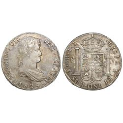 Potosi, Bolivia, bust 8 reales, Ferdinand VII, 1825JL, final date of colonial issues.