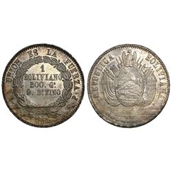 Potosi, Bolivia, 1 boliviano, 1865FP.