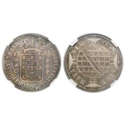 Brazil (struck in Lisbon), 640 reis, Maria I and Pedro III, 1783, full-arch crown, encapsulated NGC