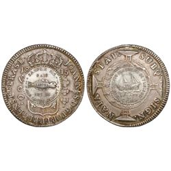Brazil (Rio mint), 960 reis, Joao Prince Regent, 1815, struck over a Spanish colonial 8 reales, with