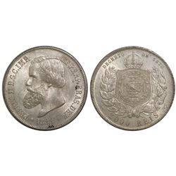 Brazil, 2000 reis, Pedro II, 1888.