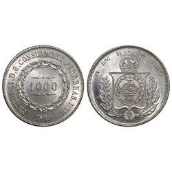 Brazil, 1000 reis, Pedro II, 1860.