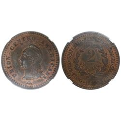 Central American Union, bronze essai 2 centavos, 1889, encapsulated NGC MS 62 BN, tied with one othe