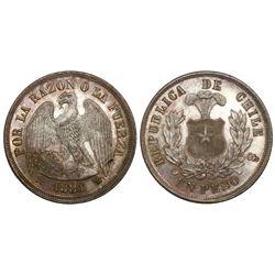 Santiago, Chile, 1 peso, 1881.