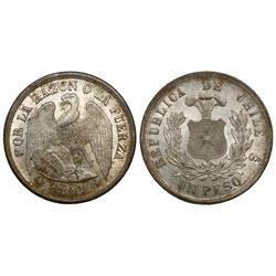Santiago, Chile, 1 peso, 1883.
